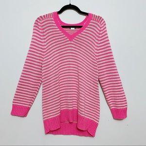 J.Crew Neon Pink Striped Cotton V-Neck Sweater